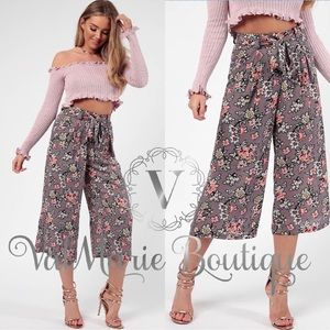 🌸Wide Leg High Waist Floral Print Pants